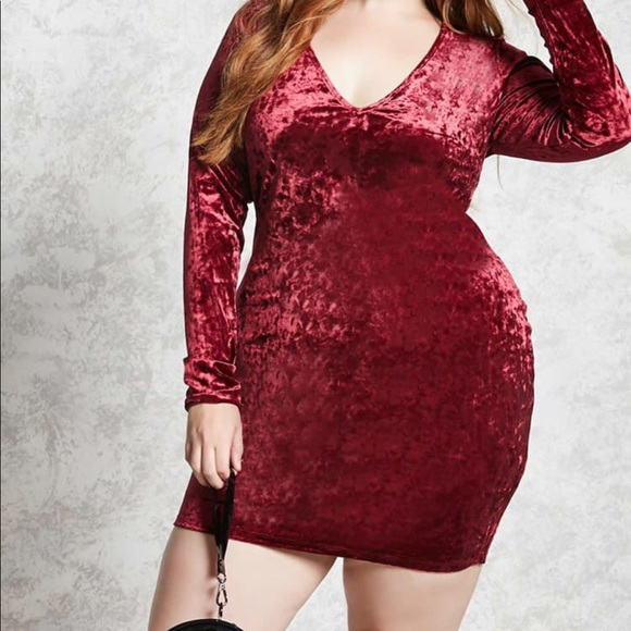 124737602c3 Forever 21 Dresses   Skirts - Forever 21 Plus size Crushed velvet Mini Dress
